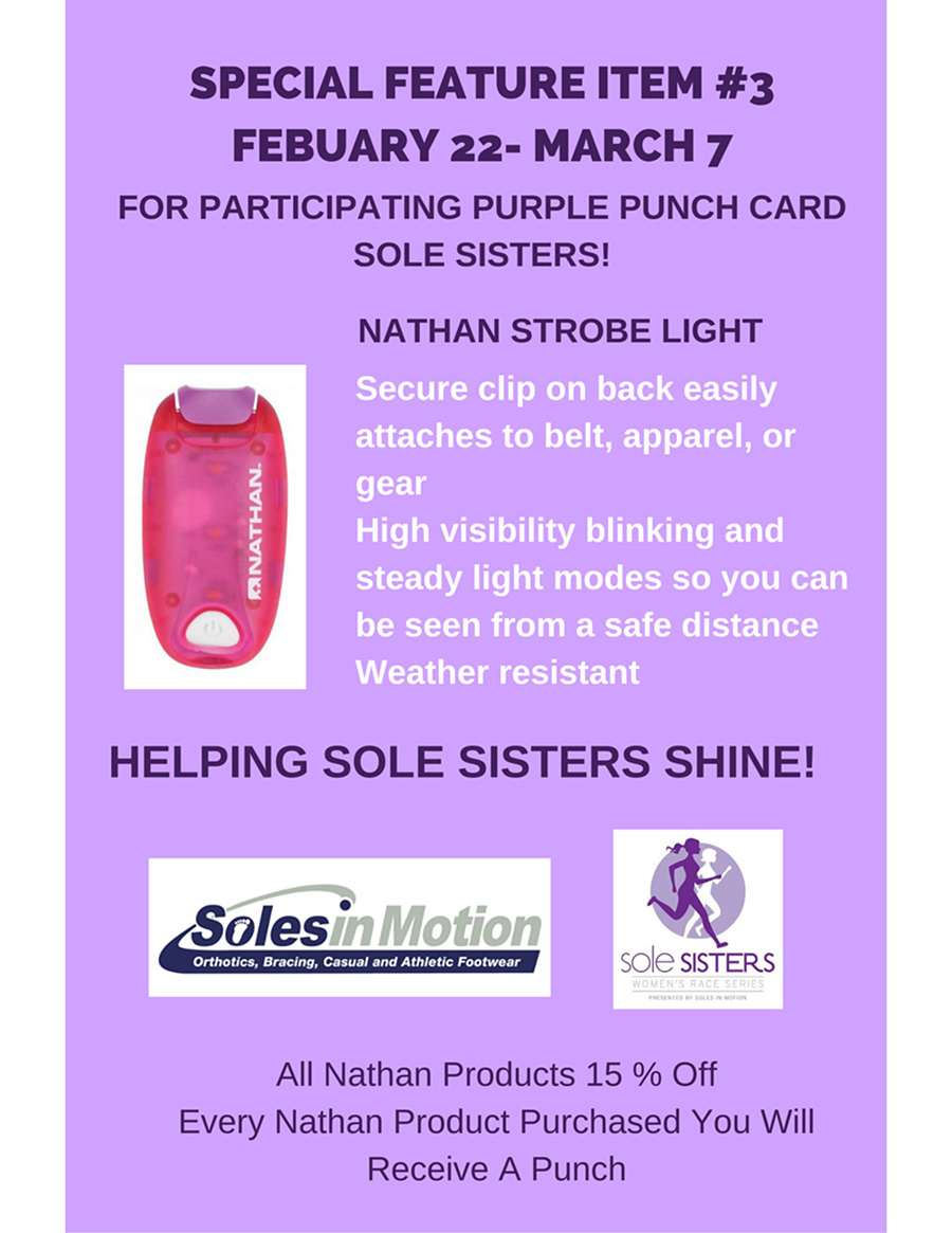 Nathan Strobe light - Purple Punch card sole sisters